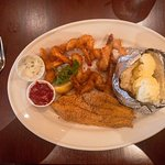 Medium Fried Shrimp with Catfish and Baked Potato