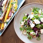 Rainbow Carrots with Whipped Ricotta and Beet Salad