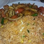 Best food this is the chicken and shrimp combination lunch special