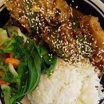 Teriyaki salmon, stir fry veggies, rice