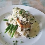 """Swordfish over mushroom risotto - my """"go-to"""" seafood dish in all of Durham"""