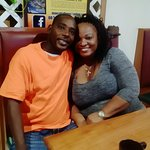 My husband and I waiting for our breakfast at Pop's Restaurant!