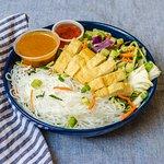 Vegan Thai Summer Salad with rice noodles, tofu, and fresh veggies.