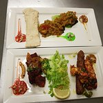 Red mix kebab and bhuna prawn puri starter