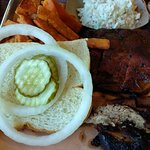 meat platter with sweet potato fries and coleslaw