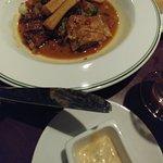 Chicken Tagine Morrocan-Style with Raisins, Chickpea & Herb Falafel, Harissa Yogurt