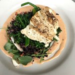 Special was halibut with black rice, quinoa, broccolini with ginger sauce.