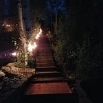View down the steps at night