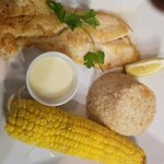 Grouper grilled plus coconut rice and cob