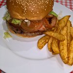 A steak burger - one of many burger options, including the Presidents range