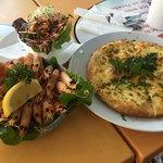 Prawns, side salad and garlic pizza bread - yum!