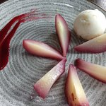 vegan poached pears with lemon sorbet