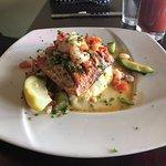 Salmon, shrimp, mashed potatoes