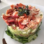 Cobb salad with lobster, shrimp and crab