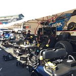 John Force's pit area, removable body sitting up front