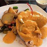 """""""El encanto del Chef"""" pescado relleno de jaiba y camarones"""