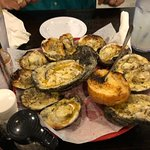 Smoked oysters were finger licking good.
