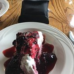 Blueberry Ice Cream Pie with the binoculars at the table.