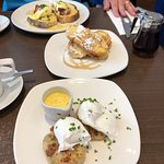 Eggs benedict, french toast, salmon benedict