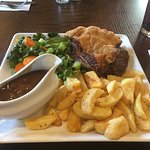 Beef and Ale Pie, mixed vegetables and hand cut chips
