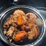 Jerk chicken and jerk pork meal