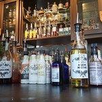 A shot of the libations and fixins at the bar