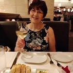 Enjoying her Santa Margherita Pinot Grigio