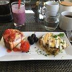 Eggs Florentine with Strawberry Shortcake breakfast. So good.