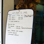 Balinaise menu.