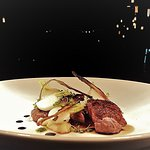 Duck Breast with Celeriac puree, glazed figs, candied rhubarb, baby turnips and red wine jus