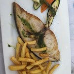 Delicious swordfish steak.