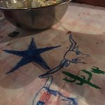 Drawing on table cloths