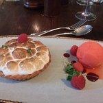 Lemon meringue pie and sorbet