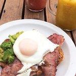 Avocado egg and bacon on fresh bread (toasted)
