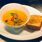 Chefs Soup of the day.   Moroccan carrot & Chickpea Homemade Gluten Free bread