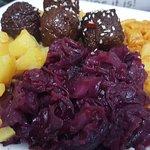 mac-n-cheeseless, meatless balls, potato