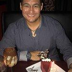 Drink: Slip Inside Dessert: Red Velvet Cheesecake (with happy birthday chocolate!)