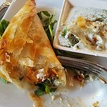 The Spanokopita was so flaky and delicious, and the tzatziki rich and flavorful.