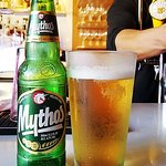 Mythos Beer — a simple Greek lager, but it still made me sentimentally happy.