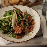 Lamb Cutlets with salad (chicory, pomegranate seeds, avocado, tomatoes and lettuce). Wonderful !