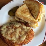 Bacon and cheese grilled cheese and Rosti