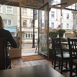 Inside the cafe on a Sunday morning