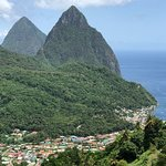 View of the Pitons during our lunch at The Beacon