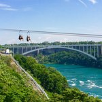 The Rainbow Bridge in back... and zip liners in front as seen from the Canadian side!