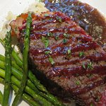Bison Meatloaf with Asparagus and Garlic Whipped Potatoes