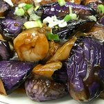 Oriental Shrimps with Chinese Egg Plant.  Yummy.