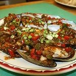 Spicy Mussels with chili & peppers.
