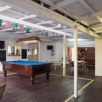 Great patio area with full size pool table and juke box