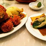 Selection of Fritti (suppli, Courgette flowers, aubergine balls, olive balls and fried sage leav