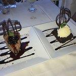 Chocolate cheesecake, chocolate brownie